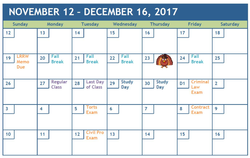 Fall exams 2017 calendar mini