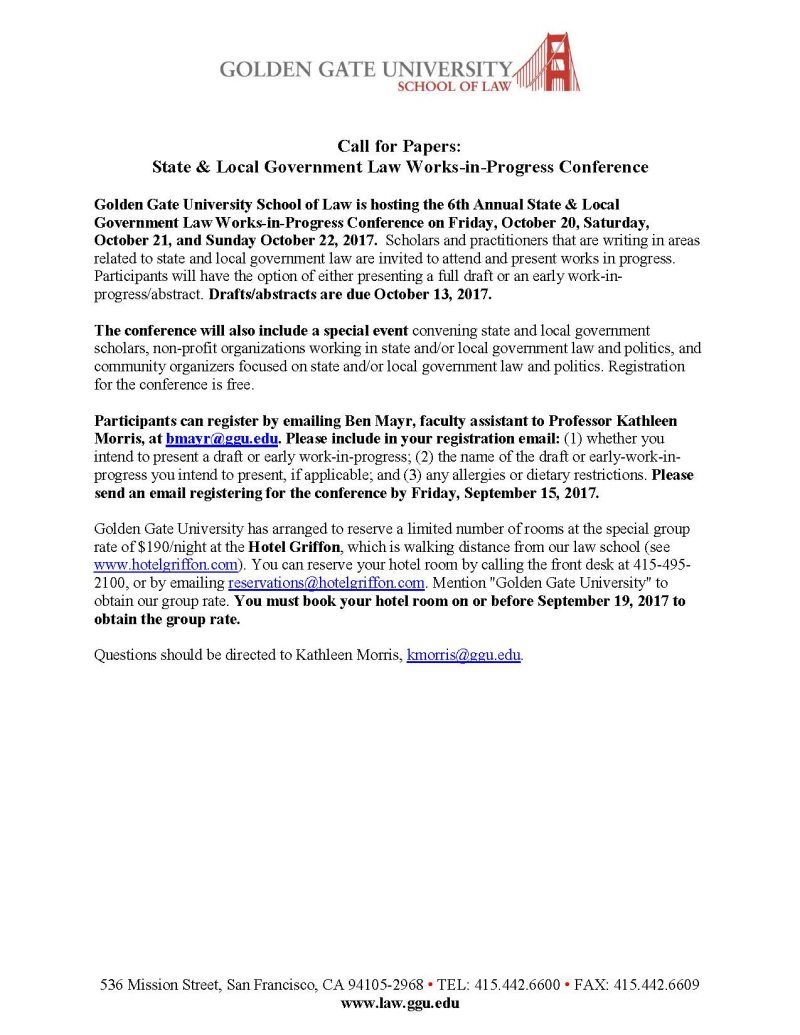 GGU Law State and Loval Govt Conference Call for Papers
