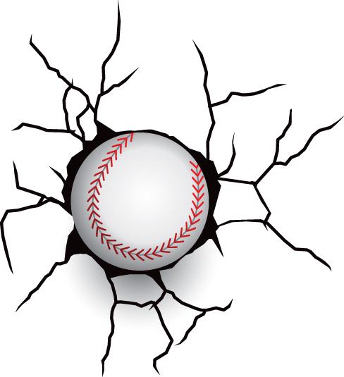 Baseball and cracked wall