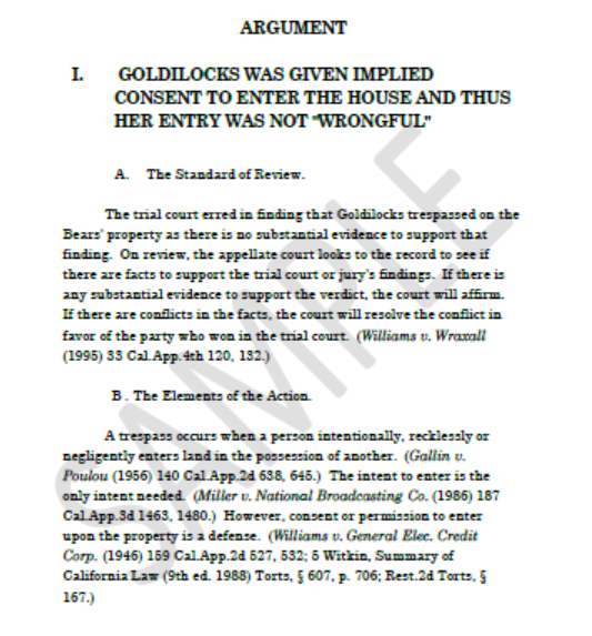 Goldilocks arg